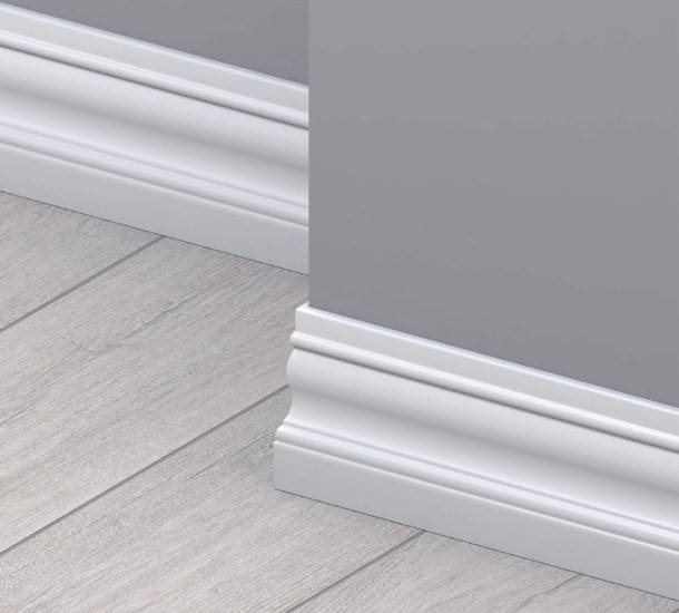 9002 White MDF Skirting Board, shaped cut, 120 mm