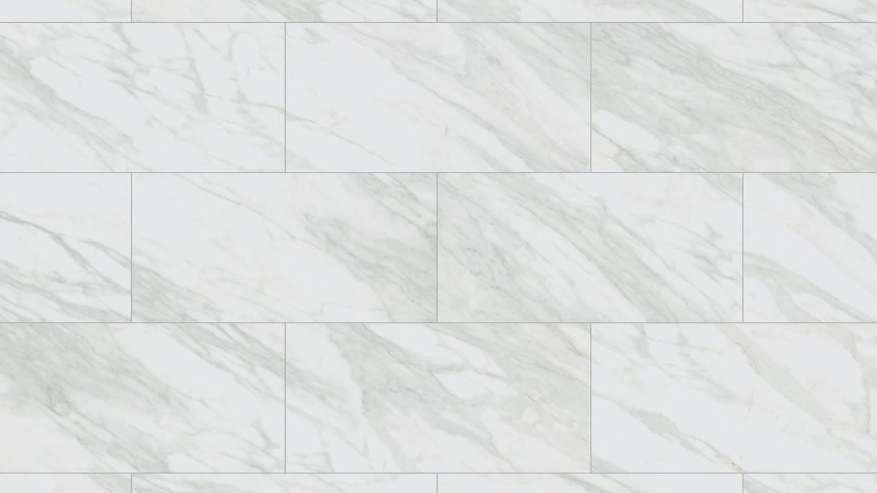 R095 Venato е декор, репродукция на италиански мрамор с изразителни сиви жилки на бял фон.